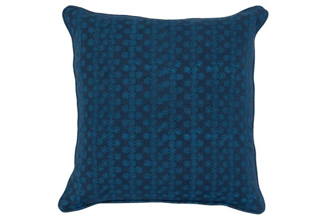 Accent Pillow-Two Tone Blue Print Block Stripe 22X22 - 360