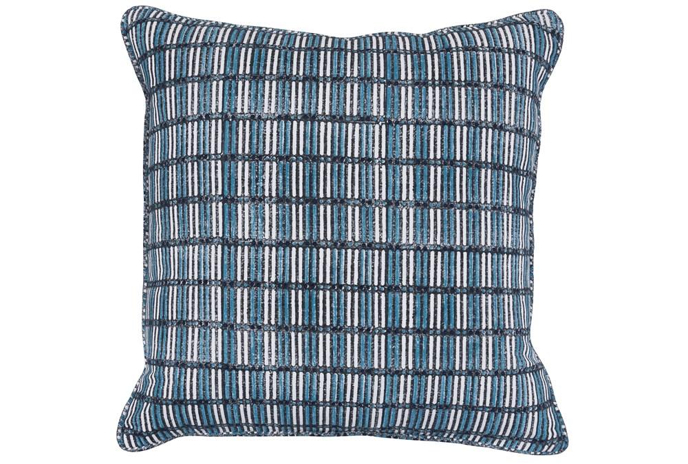 Accent Pillow-Dark Blue Print Block Grid 22X22