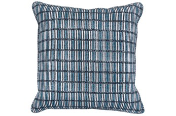 Accent Pillow-Dark Blue Print Block Grid 22X22