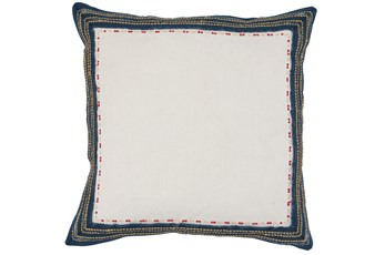 Accent Pillow-Navy Border On Linen 18X18