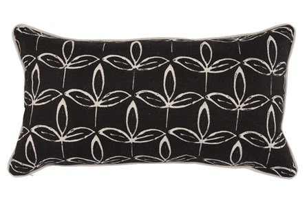 Accent Pillow-Black Print Block Leaf 14X26