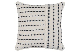Accent Pillow-Ivory & Navy Embroidered Stripes 20X20