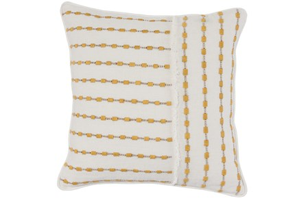 Accent Pillow-Ivory & Yellow Embroidered Stripes 20X20