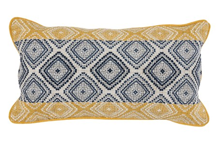 Accent Pillow-Yellow & Navy Embroidered Diamonds 14X26