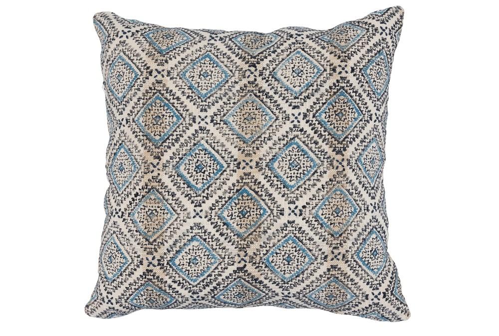 Accent Pillow-Blue & Black Print Block Diamonds 22X22