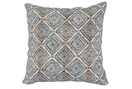 Accent Pillow-Blue & Black Print Block Diamonds 22X22