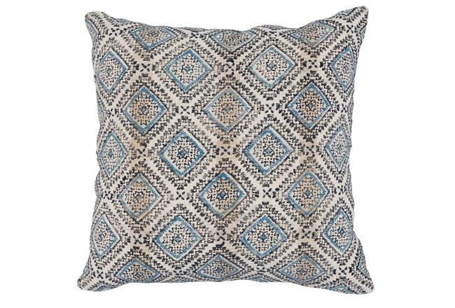Accent Pillow-Blue & Black Print Block Diamonds 22X22 - 360