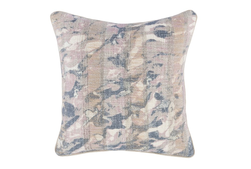 Accent Pillow-Lilac Abstract Print On Linen 18X18
