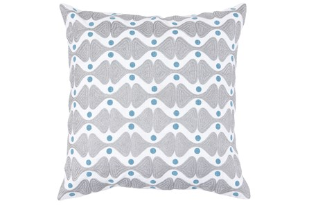 Accent Pillow-Grey & Blue Embroidered Pattern 18X18