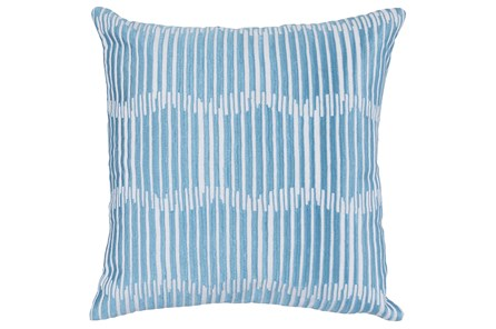 Accent Pillow-Blue Embroidered Variated Lines 22X22