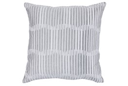 Accent Pillow-Grey Embroidered Variated Lines 22X22