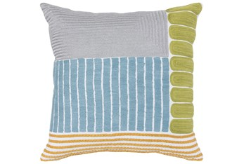 Accent Pillow-Blue & Multi Pattern Mix Embroidery 18X18