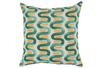 Accent Pillow-Green & Yellow Curvy Stripes 22X22