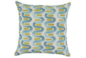 Accent Pillow-Blue & Lime Curvy Stripes 22X22
