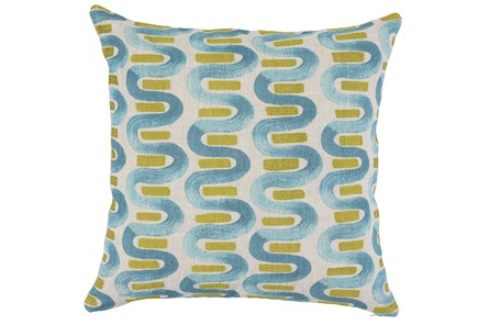 Accent Pillow-Blue & Lime Curvy Stripes 22X22