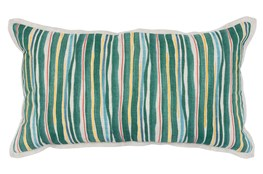 Accent Pillow-Green Multi Color Stripes 14X26