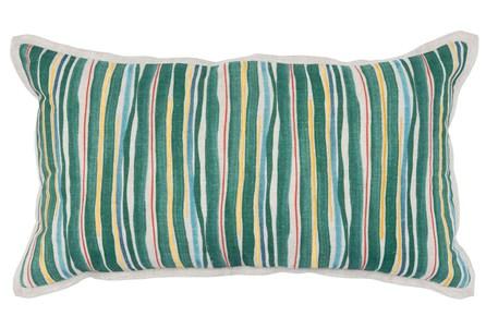 Accent Pillow-Green Multi Color Stripes 14X26