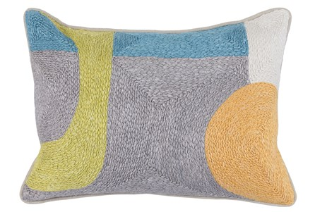 Accent Pillow-Grey & Multi Modern All Over Embroidery 14X20