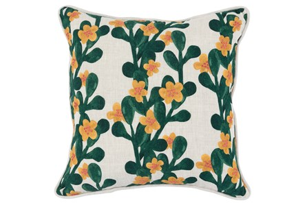 Accent Pillow-Green & Yellow Flower Vines 18X18
