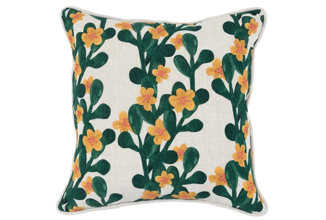 Accent Pillow-Green & Yellow Flower Vines 18X18 - 360