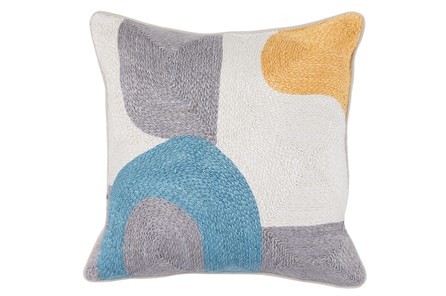 Accent Pillow-Grey & Blue Modern All Over Embroidery 18X18 - Main