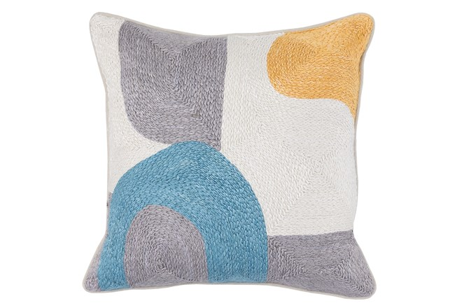 Accent Pillow-Grey & Blue Modern All Over Embroidery 18X18 - 360