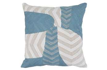 Accent Pillow-Ivory & Blue Embroidery On Linen 20X20