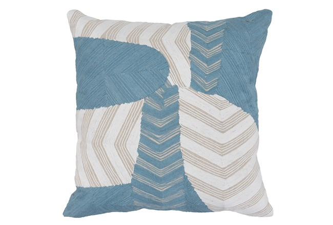 Accent Pillow-Ivory & Blue Embroidery On Linen 20X20 - 360