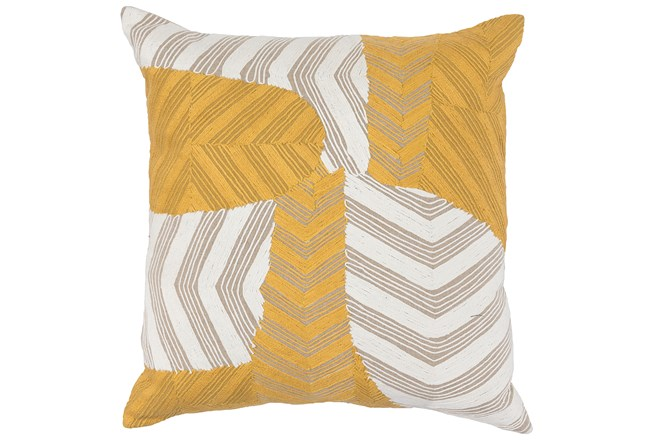 Accent Pillow-Ivory & Yellow Embroidery On Linen 20X20 - 360