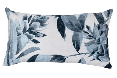 Accent Pillow-Deep Blue Floral Printed Velvet 14X26