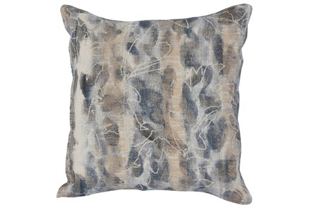 Accent Pillow-Steel Blue Abstract Print On Linen 18X18