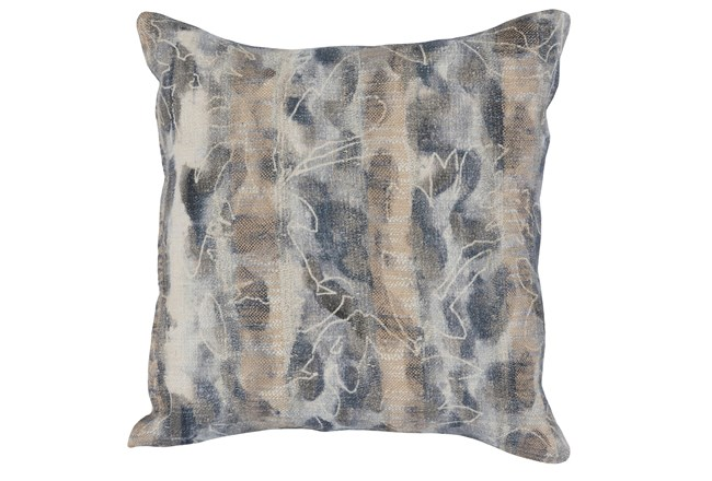 Accent Pillow-Steel Blue Abstract Print On Linen 18X18 - 360