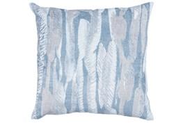 Accent Pillow-Steel Blue Modern Leaves Printed Velvet 22X22