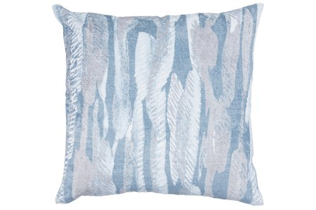 Accent Pillow-Steel Blue Modern Leaves Printed Velvet 22X22