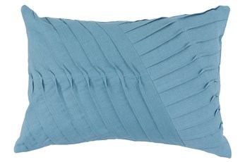 Accent Pillow-Blue Cotton Asymetrical Stripes 14X20