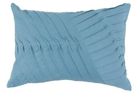 Accent Pillow-Blue Cotton Asymetrical Stripes 14X20