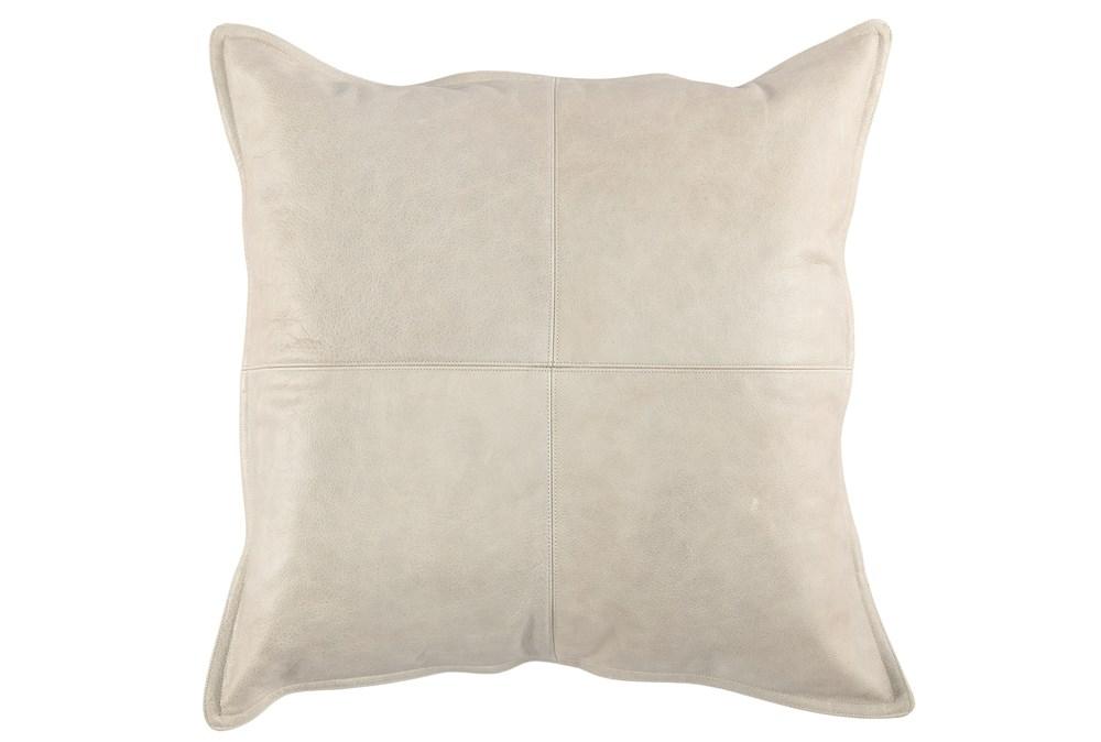 22X22 Taupe Grey Pieced Leather Lumbar Throw Pillow