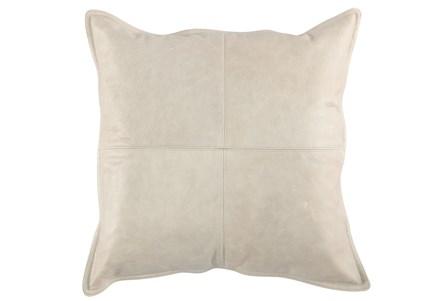 22X22 Taupe Grey Pieced Leather Lumbar Throw Pillow - Main
