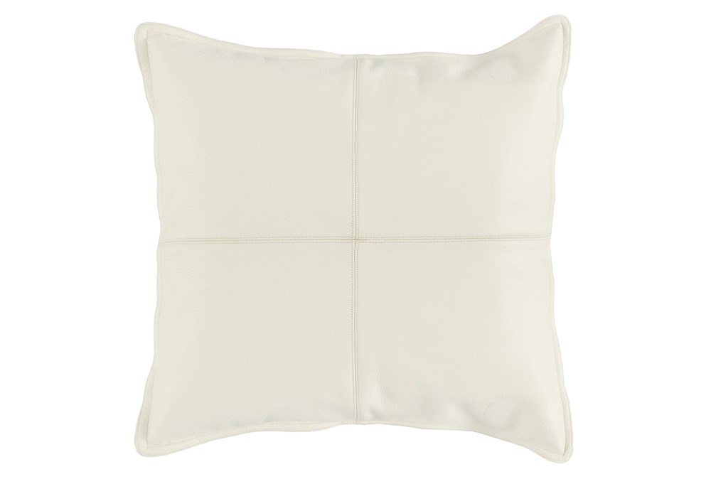 22X22 Ivory Pieced Leather Throw Pillow