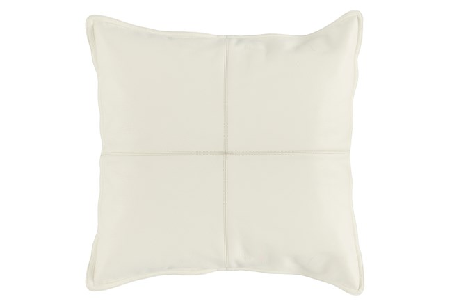 22X22 Ivory Pieced Leather Throw Pillow - 360