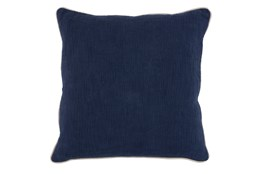 22X22 Navy Blue Textured Cotton Solid Throw Pillow