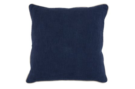 Accent Pillow-Navy Cotton Slub W/ Linen Trim 22X22