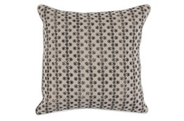Accent Pillow-Black Print Block Stripe On Linen 22X22