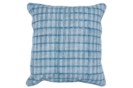 Accent Pillow-French Blue Print Block Grid 22X22