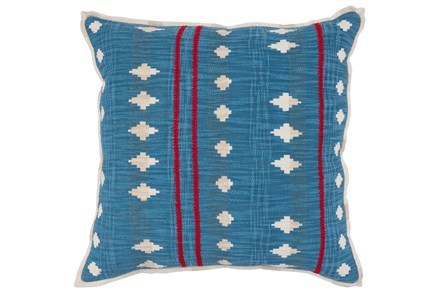 Accent Pillow-French Blue & Red Tribal Pattern 22X22