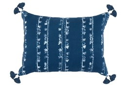 Accent Pillow-Navy W/ White Print Block Stripes 14X20