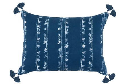 Accent Pillow-Navy W/ White Print Block Stripes 14X20 - Main