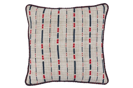 Accent Pillow-Navy & Red Embroidered Stripes 18X18