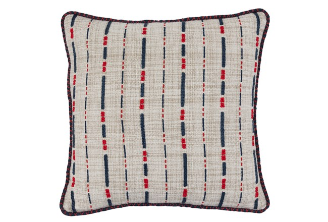 Accent Pillow-Navy & Red Embroidered Stripes 18X18 - 360