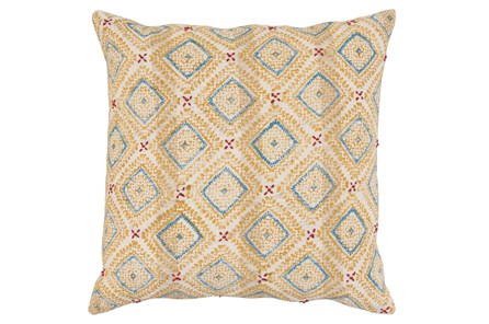 Accent Pillow-French Blue & Yellow Print Block Diamonds 22X22